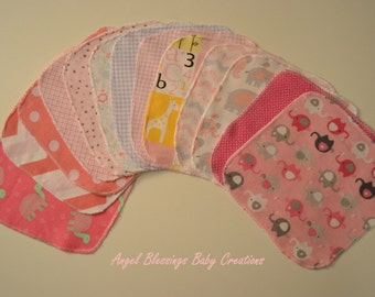 Baby Girl Reusable Wipes, Flannel Washcloths, Baby Wipes, Unique Baby Shower Present, Surged Flannel Baby Wipes, Baby Girl Print Variety