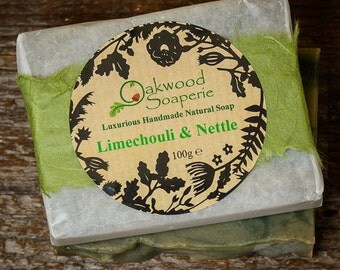 Limechouli Handmade soap, Zingy lime and earthy patchouli soap coloured with Nettle leaf powder, Father's Day gift.
