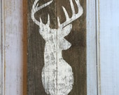 Rustic Deer Silhouette Sign   - Hand Painted Sign