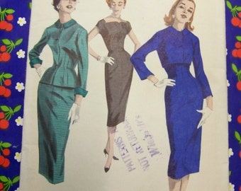 Chic Vintage 1950s Butterick 7941 SHEATH & JACKET Pattern sz 14 Bust 32 UNCUT
