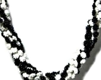 Daisy Beads Torsade Necklace Multi Strand Necklace Black White