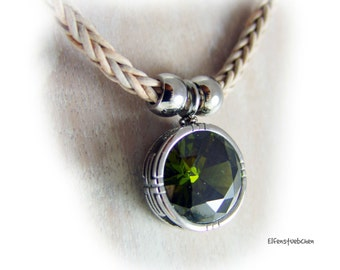 Leather necklace green glass stainless steel - necklace women