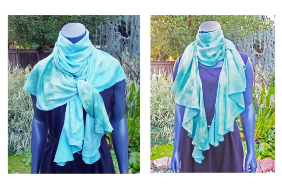"""Blue green rayon scarf - spiral scarf - ruffle scarf - blue, green - stormy sea - hand dyed - 108"""" x 18"""" - OOAK"""