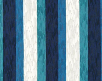 Cotton and Steel Homebody Navy Teal Green Stripe Fabric Kimberly Kight BTY 1 Yd