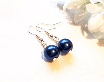Navy Pearl Earrings Dark Blue Earrings Navy Blue Earrings Bridesmaid Jewelry Wedding
