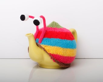 Knitted pink stripy snail tea cosy. Tea lovers teatime treat. Available with or without teapot