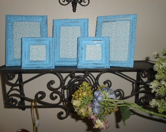 Picture Frames, Vintage, Distressed, Aqua, Baroque, Handpainted, Shabby Chic, Wooden Picture Frames, Boys Room, Nursery Room Decor