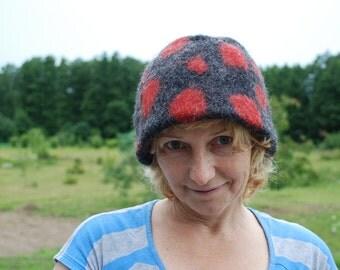 Felted Warm Winter Polka dot hat Women hat