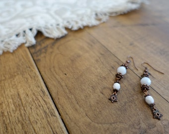 Bright White Copper Earrings