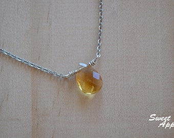 Simple Citrine Drop Necklace