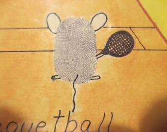 Vintage Sports Art Thumbprint Gallery Wall Racquetball Mice Yellow Art