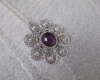 Amethyst necklace,Amethyst Silver necklace,Silver Necklace,Israel jewelry,  Silver flower, Filigree pendant