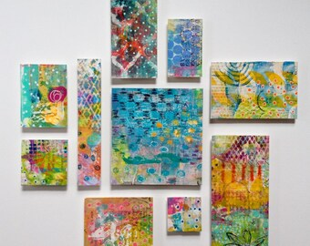 Abstract Collage Painting - 10 mini Paintings - Mixed Media Art Love