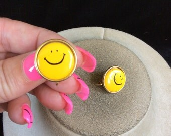 Vintage Yellow Smiley Face Earrings