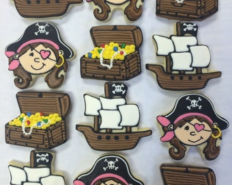 Treasure Chest Cookies for Birthdays, Girls Pirate Ship cookies, Pirate Theme Cookies for Girls Parties, Best Girl Pirate Cookies