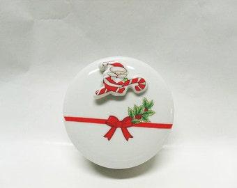 Vintage Christmas Porcelain Powder Box / Christmas Trinket Box