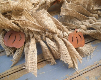 Burlap Garland -Rustic Garland - Rusty Pumpkins- Rustic Garland - Rustic Wedding Decor - Fall Garland - Primitive Garland - Burlap
