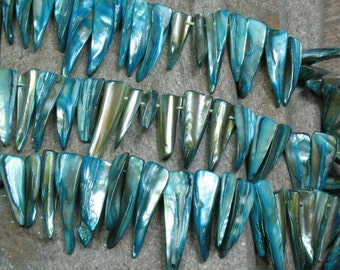 "Mother of Pearl Spike Beads Dyed Blue - 14"" Strand - Item B0411"