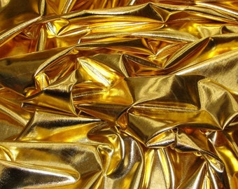 "Metallic Foil Spandex Fabric in Gold Stretch Lycra 58""/60"" Wide and Sold By The Yard 6029"