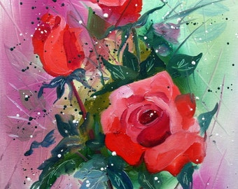 Original Oil Painting on Canvas - FLOWERS by Tetiana
