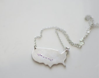 U.S. Necklace with heart stamps/ Long Distance necklace.