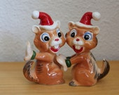 Pair of Porcelain Chipmunk Ornaments c1950s PRICE REDUCED