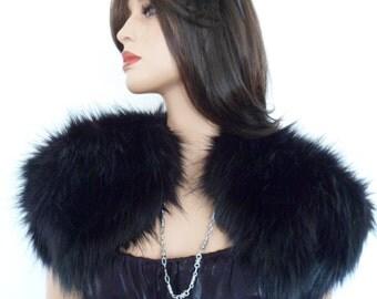 black fur bolero, black fur shrug, wrap, shawl, stole, fake fur