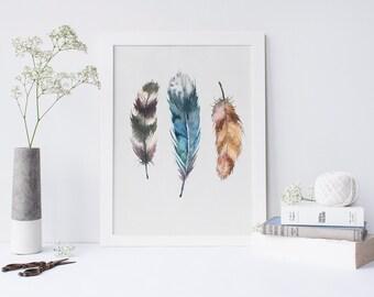 """Print Your Own //Wall Decor // Printable 8x10"""" // Boho Art Print // Wall Art Print // 3 feathers // boho nursery print"""