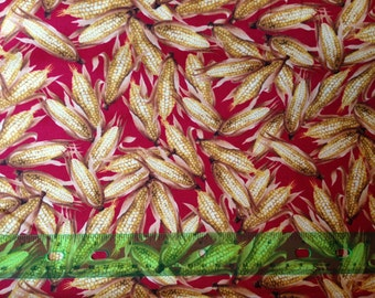 Autumn harvest fabric - thanksgiving fabric - corn fabric - indian corn - fall fabric by the yard - #1562