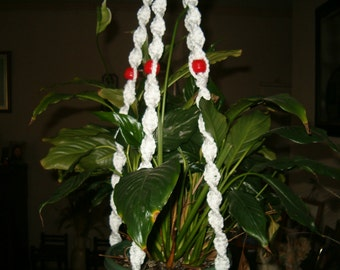 White cord macrame plant holder