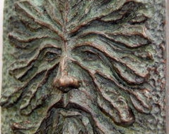 Greenman art tile or plaque.  Medieval church and pegan green man relief sculpture.  Ideal where you need a little nature, myth and magick