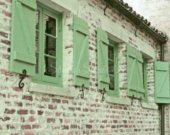 "Window Photography, Cottage Architecture, Shutter Art, Rustic Decor, Green Shutter Print, Country Brick Farmhouse Photo- ""Green Shutters"""