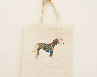 Cotton Tote Bag Bedlington Terrier Illustration