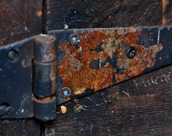 Hinge 8x10 Fine Art Photography Print of a Rust-Covered Hinge On A Forgotten, Rustic Door