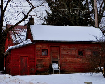 Spot From The Past 8x10 Fine Art Photography Print of a Rustic Barn with a Place To Rest in MN Northwoods