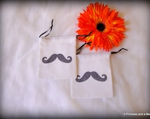 """I """"Mustache"""" You Party Favor Bags (Black on White), Birthday Party Favors, Small Drawstring Bags, 3"""" x 4"""""""