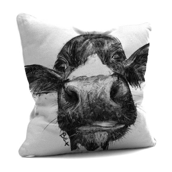 Cow Cushion Cow Pillow Farm Animal Cushion Black By Wraptious