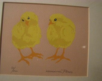 Vintage Katherine Pross Original Silk Screen Chicks