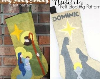 2 Felt Christmas Stocking Patterns of the Nativity // Christmas Stocking Templates