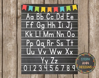 Alphabet and Numbers Poster- Printable 16x20 and 8x10 size