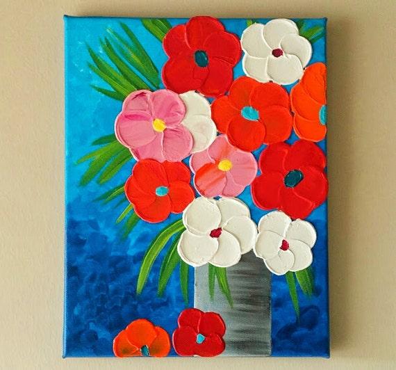 Original Acrylic Flower Vase painting Flowers in vase