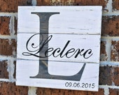 Rustic Distressed Pallet Wood Personalized Family Sign with Family Initial and Last Name / Wedding /Anniversary Sign - SMALL SIZE