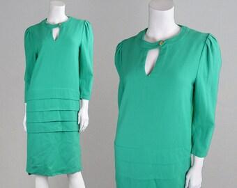 Vintage 80s Shift Dress Green Dress Wool Crepe Dress Layered Dress Keyhole Dress Peephole Dress Chic Dress Mansfield Dress Pure New Wool