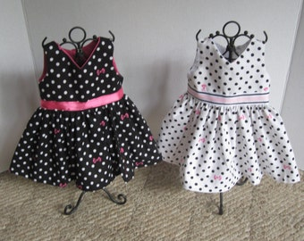 Polka dot and bows dress for American Girl dolls