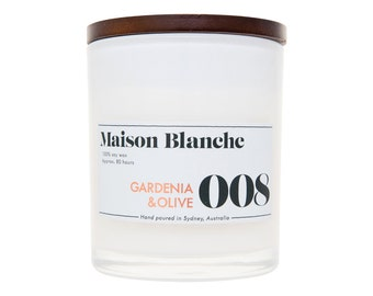 Gardenia & Olive Soy Candle. Hand-poured. 80 hr burn time.