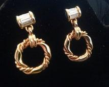 SWAROVSKI swan signed Crystal Dangle Pierced Earrings