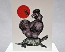 Old Friends. Silkie Chicken Enjoys Piggyback ride on Red-eared Slider Turtle. Olive Branch. Red Sun. Blank A2 size card with Cream Envelope.