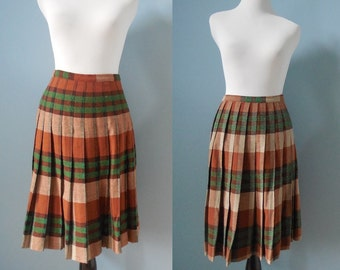 Vintage REVERSIBLE pleated skirt WOOL SKIRT brown plaid midi skirt womens small