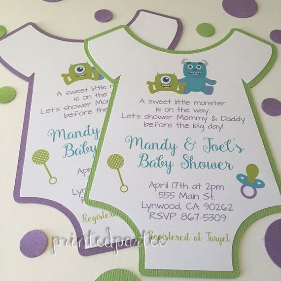 monsters inc baby shower invitations by printedpartee on etsy