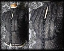 Gothic Black Polka Dot Bib VICTORIAN GOVERNESS High Neck Blouse 12 14 Steampunk